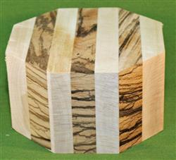 "Bowl #419 - Striped Segmented Bowl Blank - Yellow Birch & Zebrawood ~ 6"" x 3 1/2"" Tall ~ $34.99"