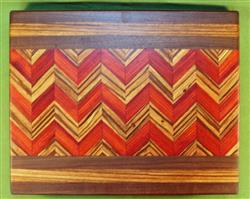 "Board #946  Padauk, Zebrawood & Black Walnut Wave Edge Grain Cutting Board 15 1/4"" x 12 1/4"" x 1 1/2"" - $79.99"