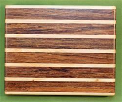 "Board #986 Sandwich / Bagel Cutting Board - Zebrawood & Maple 9"" x 7 1/4"" x 1 1/2"" - $27.99"