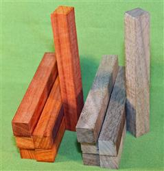"Blank #319 - Pen Turning Blanks, Padauk & Black Walnut, Set of 12, 6 Each ~ 3/4"" x 3/4"" x 6+"" ~ $14.99"