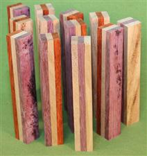 "Blank #380 - Layered Segmented Pen Turning Blanks, Assorted, Set of 12 ~ 3/4"" x 3/4"" x 5 1/2+"" ~ $29.99"