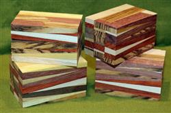 "Blank #741 - Four Eclectic Segmented Turning Blanks ~ 2"" x 2"" x 3 1/4"" ~ $24.99"