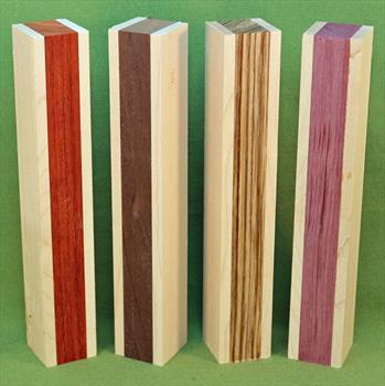 "Blank #760 - Segemented Striped Blanks - Set of 4 ~ 1 3/8"" x 1 3/8"" x 9"" ~ $24.99"